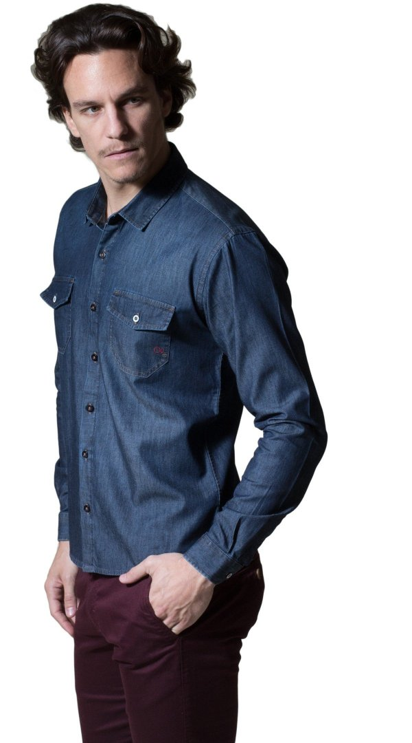 Camisa Ogochi Slim Fit Jeans Escura